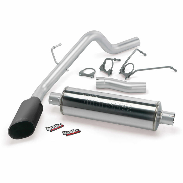 Monster Exhaust System Single Exit Black Ob Round Tip 04-05 Dodge 5.7 Hemi 1500 SCSB Banks Power
