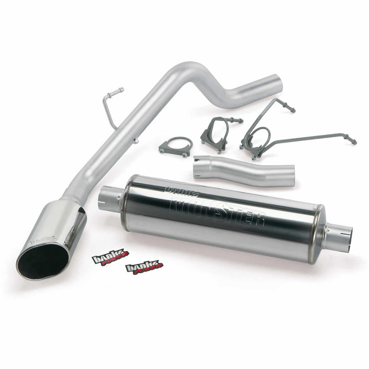 Monster Exhaust System Single Exit Chrome Ob Round Tip 02-03 Dodge 4.7L 1500 CCSB Banks Power