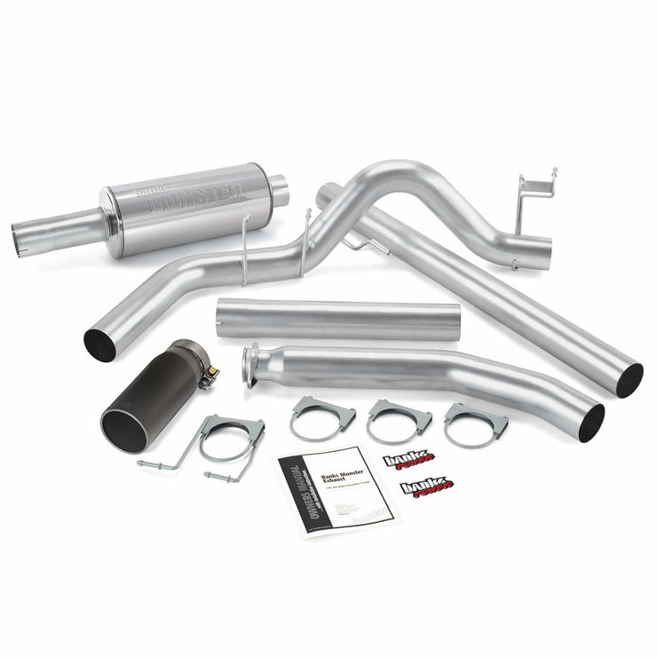 Monster Exhaust System Single Exit Black Round Tip 98-02 Dodge 5.9L Standard Cab Banks Power