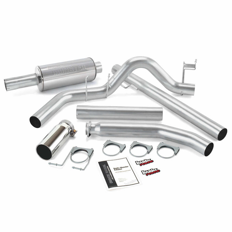 Monster Exhaust System Single Exit Chrome Round Tip 98-02 Dodge 5.9L Standard Cab Banks Power