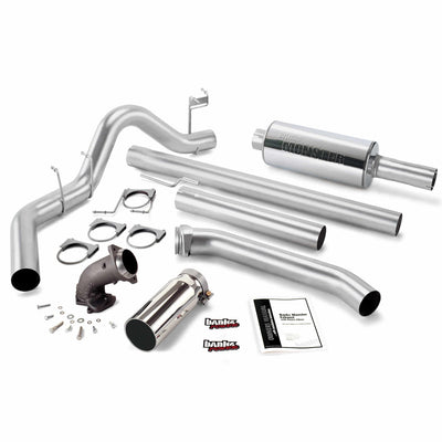 Monster Exhaust System W/Power Elbow Single Exit Chrome Round Tip 98-02 Dodge 5.9L Standard Cab Banks Power