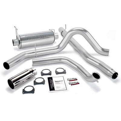 Monster Exhaust System Single Exit Chrome Round Tip 00-03 Ford 7.3L Excursion Banks Power