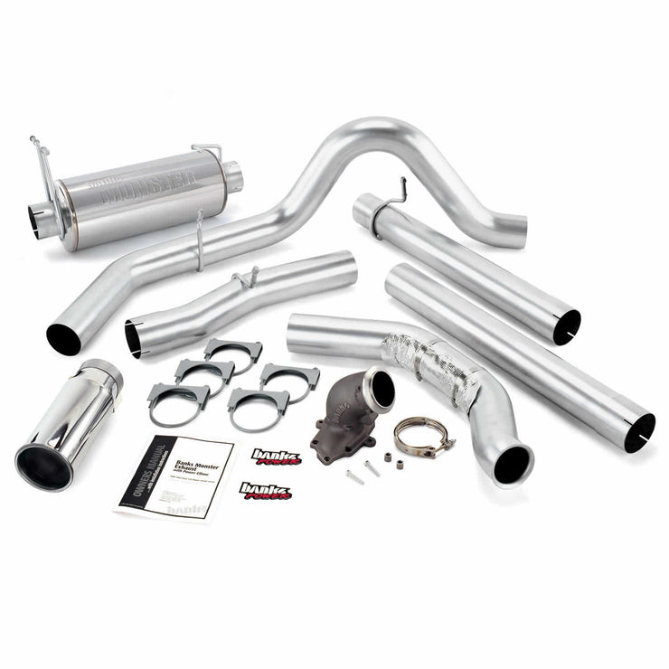 Monster Exhaust System W/Power Elbow Single Exit Chrome Round Tip 99 Ford 7.3L Catalytic Converter Banks Power