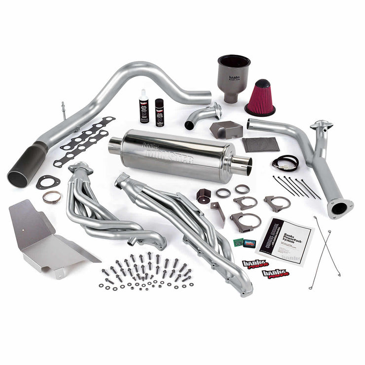 PowerPack Bundle Complete Power System W/Single Exit Exhaust Black Tip 99-04 Ford 6.8L Truck EGR Early Catalytic Converter Banks Power