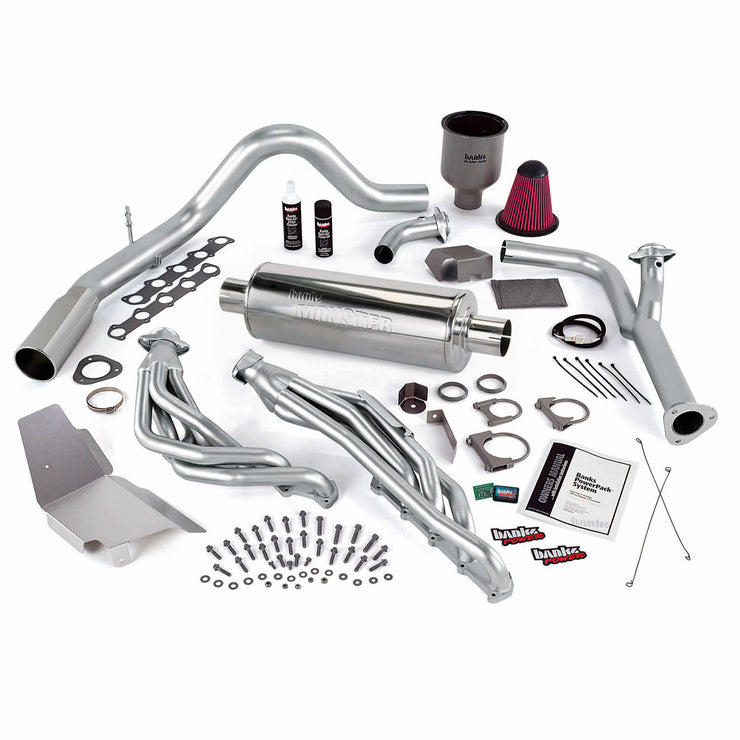 PowerPack Bundle Complete Power System W/Single Exit Exhaust Chrome Tip 00-04 Ford 6.8L Excursion No EGR Banks Power
