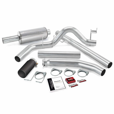 Git-Kit Bundle Power System W/Single Exit Exhaust Black Tip 98-00 Dodge 5.9L Standard Cab Banks Power