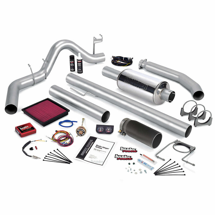Stinger Bundle Power System W/Single Exit Exhaust Black Tip 01 Dodge 5.9L Extended Cab 235hp Banks Power