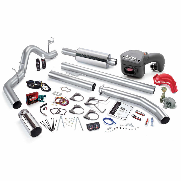 PowerPack Bundle Complete Power System W/Single Exit Exhaust Chrome Tip 01 Dodge 5.9L Extended Cab 245hp Banks Power