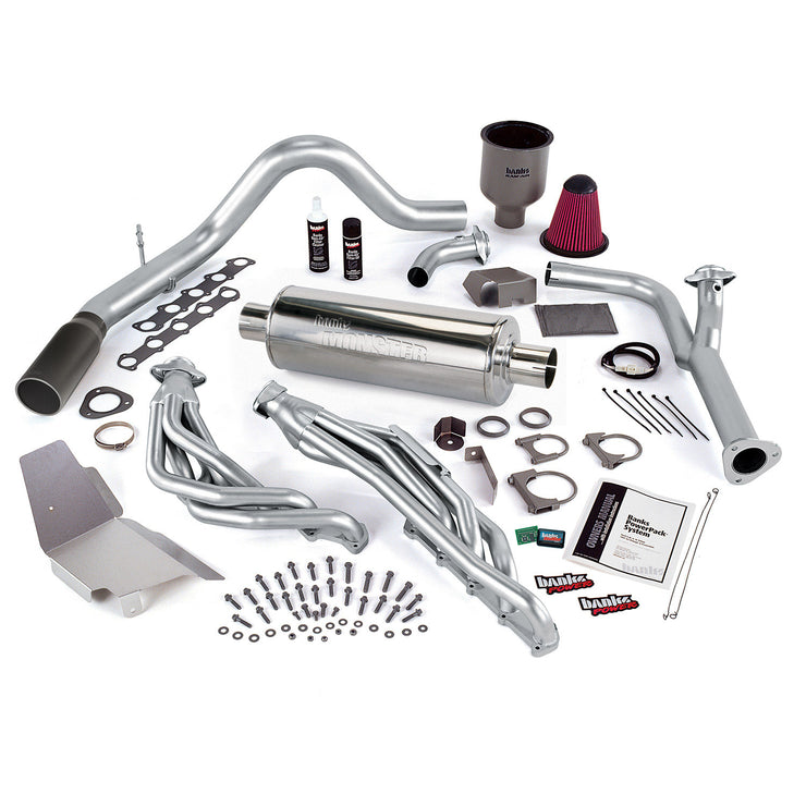 PowerPack Bundle W/AutoMind ModuleSingle Exit Exhaust Black Tip 00-04 Ford 6.8L Excursion Banks Power