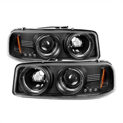 SPYDER 5009357 BLACK PROJECTOR HEADLIGHTS W/ LED HALO