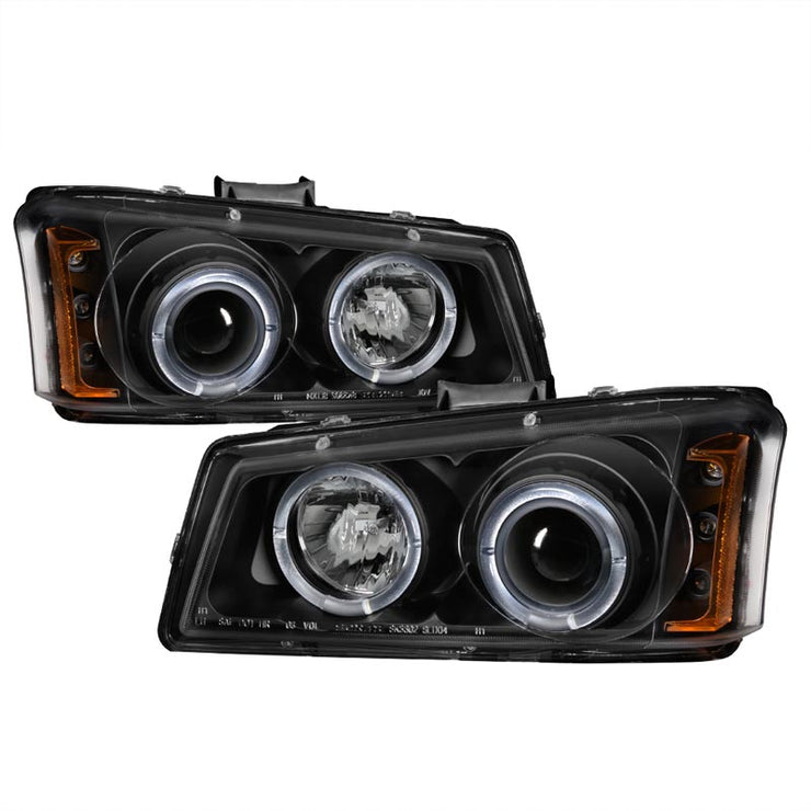 SPYDER 5009456 BLACK PROJECTOR HEADLIGHTS W/ LED HALO
