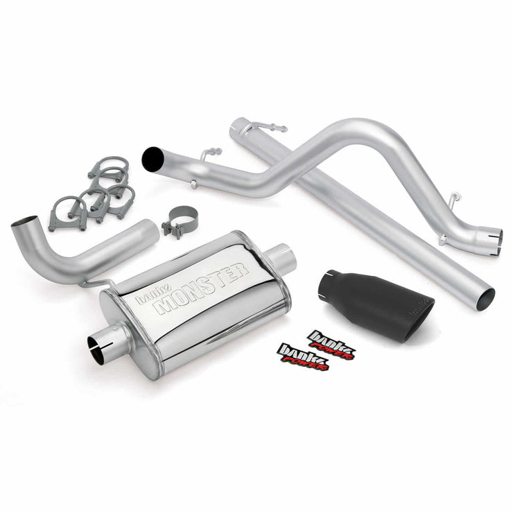 Monster Exhaust System Single Exit Black Ob Round Tip 07-11 Jeep 3.8L Wrangler 2 Door Banks Power