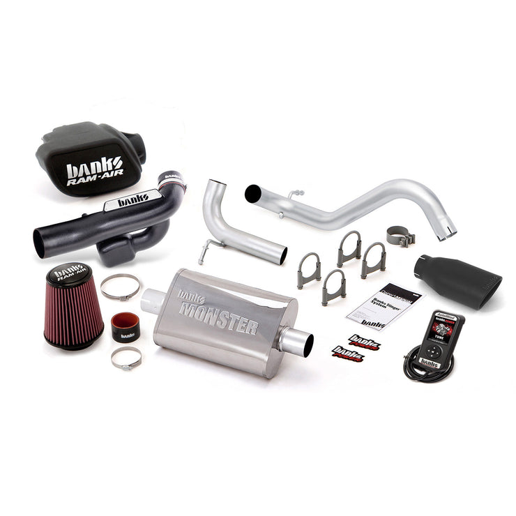 Stinger Bundle Power System W/AutoMind Single Exit Exhaust Black Tip 12-14 Jeep 3.6L Wrangler All 2 Door Banks Power
