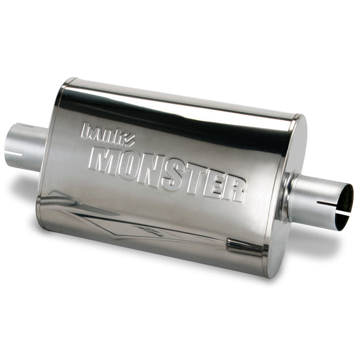 Stainless Steel Exhaust Muffler 2.5 Inch Inlet and Outlet W/adapter 91-99 Jeep 4.0L Banks Power