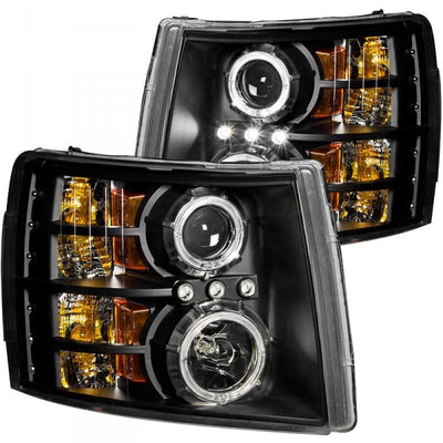 ANZO 111200 BLACK PROJECTOR HEADLIGHTS W/ HALO