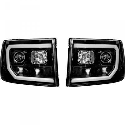 RECON 264271BKC SMOKED PROJECTOR HEADLIGHTS WITH OLED U-BAR