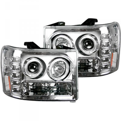 RECON 264271CL CLEAR PROJECTOR HEADLIGHTS WITH LED HALOS