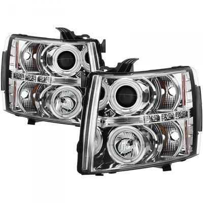 SPYDER 5033871 CHROME PROJECTOR HEADLIGHTS W/ CCFL HALO