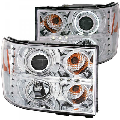 ANZO 111126 CHROME PROJECTOR HEADLIGHTS W/ CCFL HALO