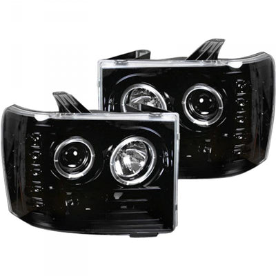 RECON 264271BK SMOKED PROJECTOR HEADLIGHTS WITH LED HALOS