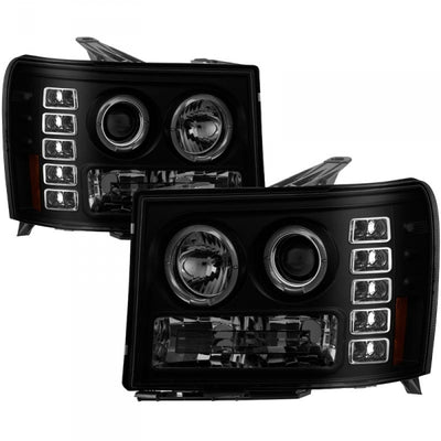 SPYDER 5078506 BLACK/SMOKE PROJECTOR HEADLIGHTS W/ LED HALO