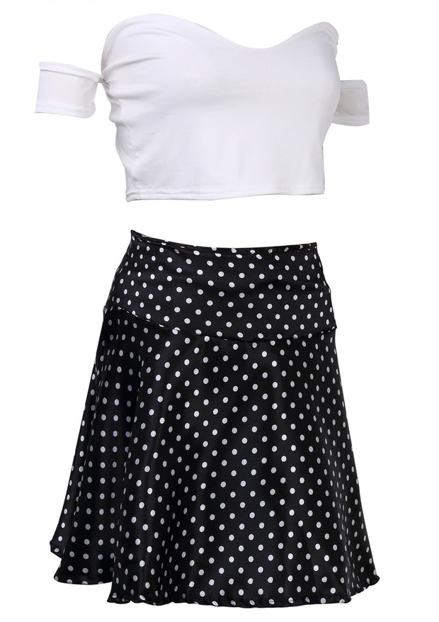 White Polka Dot Short Mini Dress