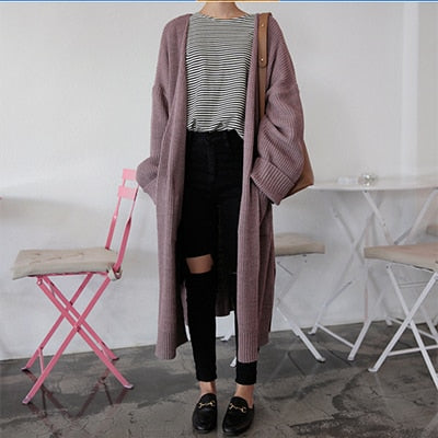 Long Knit Sweater Large Coat Casual