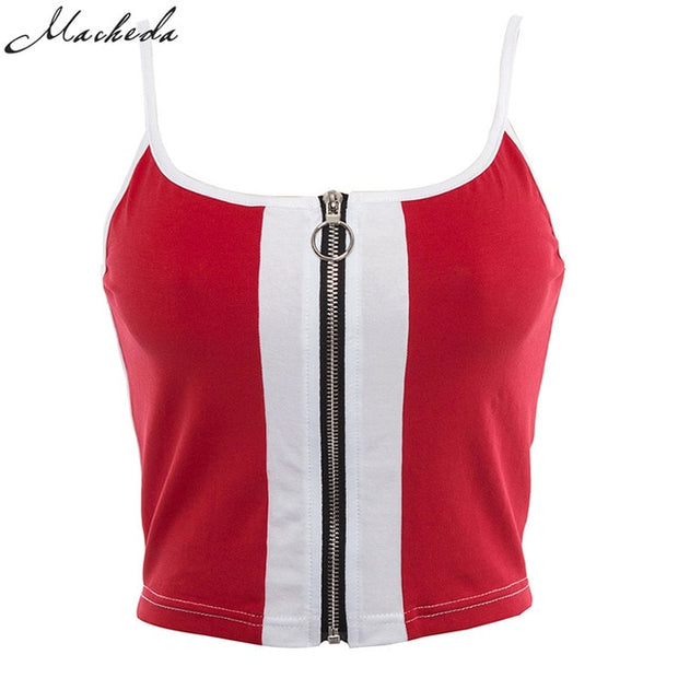 Macheda Zipper Short Tank Tops