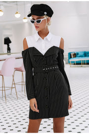 fake two piece stripe dress