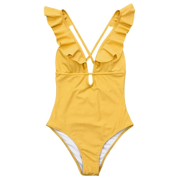 Ruffle V-neck Swimwear