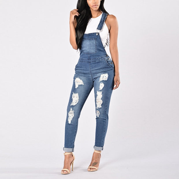 Hollow Out Sleeveless Denim Jumpsuit