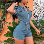 Zipper sexy denim jumpsuit