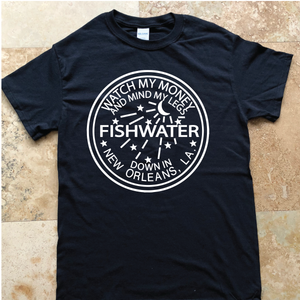Widespread Panic Shirt-Fishwater New Orleans-Adult Uni T Shirt Sizes S M L XL 2X 3X 4X 5X-Black T Shirt