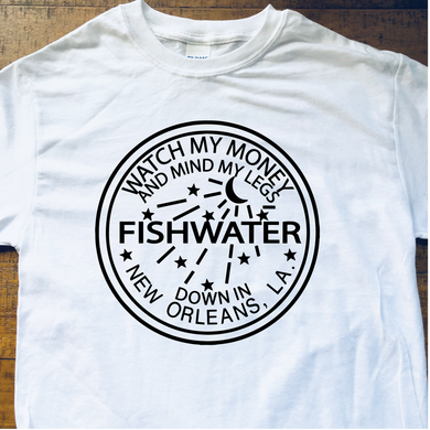Widespread Panic Shirt-Fishwater New Orleans-Adult Uni T Shirt Sizes S M L XL 2X 3X 4X 5X-White T Shirt