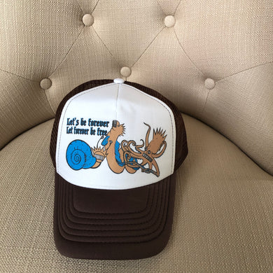 Ween Hat-The Mollusk in Brown and Blue-Trucker Style Adjustable Snapback Hat