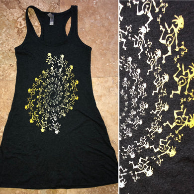 Widespread Panic Dress-Dancing Note Eater Spiral-Women's Racerback Tri-blend Tank Dress-Sizes XS S M L XL 2XL