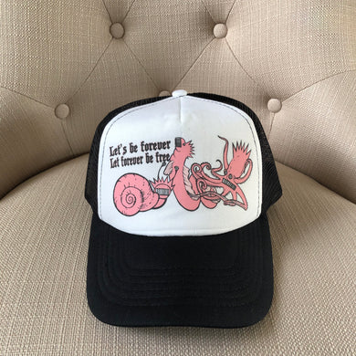 Ween Hat-The Mollusk in Pink-Trucker Style Adjustable Snapback Hat