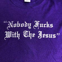 Load image into Gallery viewer, Big Lebowski Shirt-Nobody Fucks with the Jesus on Purple-Adult Uni T Shirt Sizes S M L XL XXL-Purple T Shirt