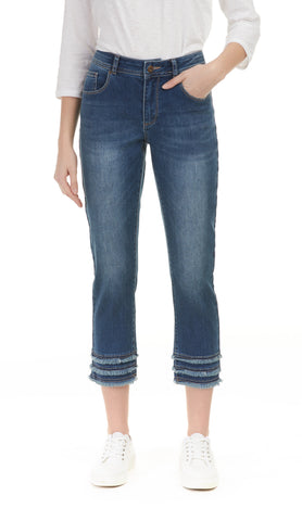 Fringe Ankle Stretch Denim - 2 Colors!