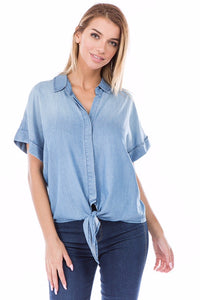 Denim Tencel Tie Top