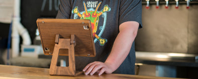 Wooden iPad Stand at Locust Cidery