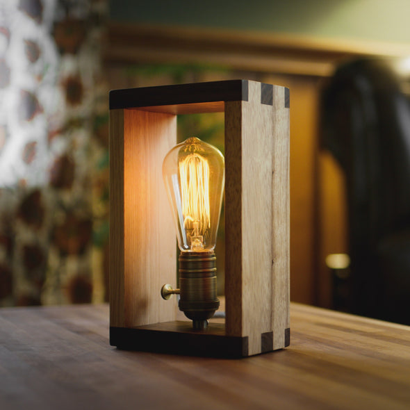 Wooden Lamp and LED Edison Bulb