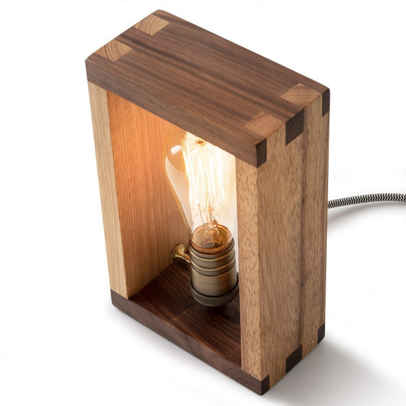 Custom wooden lamp with LED old Bulb
