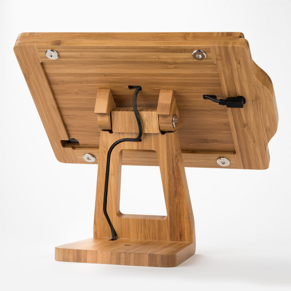 USB Charging cable on wood iPad frame stand