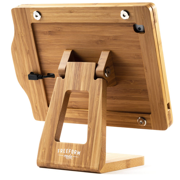 Natural Wood iPad Stand with Charging Cord