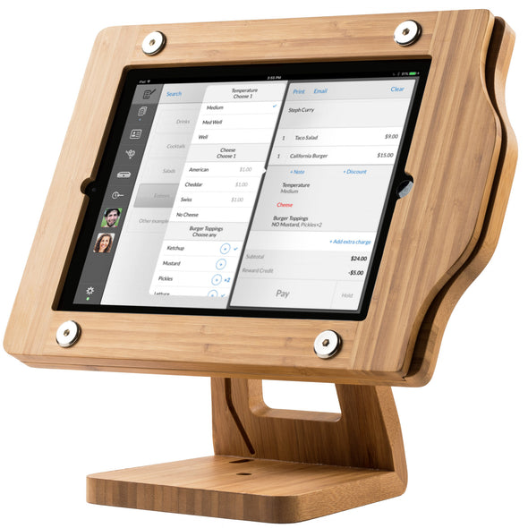 iPad with Wooden Stand