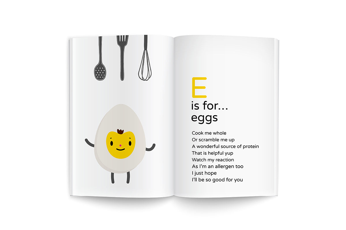 "sample page from recipes for growing me ~6 months, baby's first cookbook, ""E is for...eggs"", happy face egg character illustration on white background with kitchen utensils and black lettering poem"