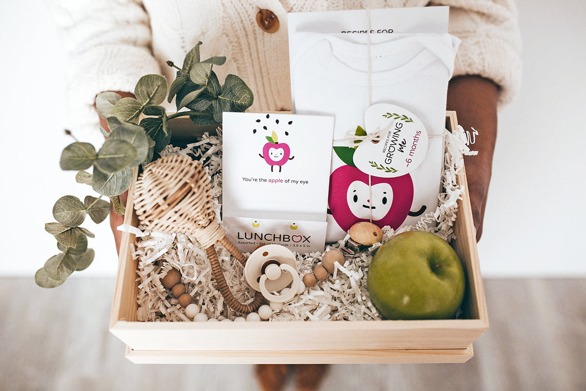 Recipes for Growing Me gift box collection: Cookbook + Onesie bundle, Lunchbox Cards