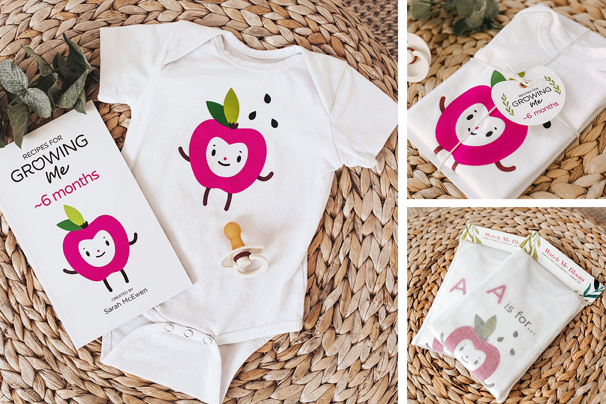 The perfect baby shower gift—Baby's First Cookbook and matching apple onesie