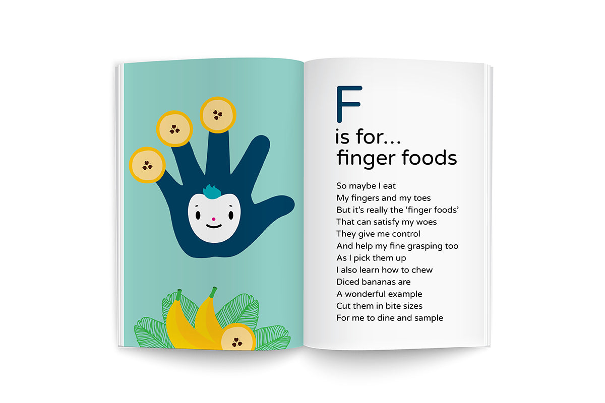 "sample page from recipes for growing me ~9 months, baby's first cookbook series, ""F is for…Finger Foods, happy face blue hand character illustration on soft turquoise background with green banana leaves and banana slices, black lettering poem"